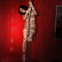 Buxom dark-haired stripper Savana Ginger face sitting boy in high heeled shoes and lingerie