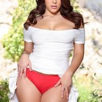 Bosomy Latina Valentina Nappi jerking and fellating enormous penis before doggy sex