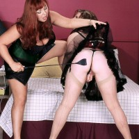 Huge-chested aged lesbos Angela Milky and Virgin Brady play lesbo domination games in lingerie
