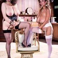 Buxom pornostar Devon Daniels and her lezzie wife flaunt their enormous funbags