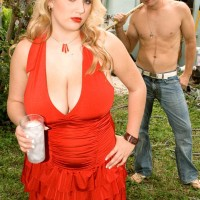 Chubby fair-haired stunner Shyla Shy revealing enormous boobies and hard nipples outdoors