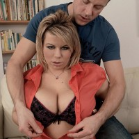 Plump light-haired solo girl Veronika uncovering giant boobies from boulder-holder before providing tit engage in intercourse