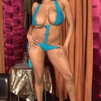 Plump ebony dime Carmen Hayes massaging humungous X-rated film star juggs and nip slurping