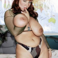 Round ginger-haired MILF Virgin Brady whipping out huge boobies in military fatigues
