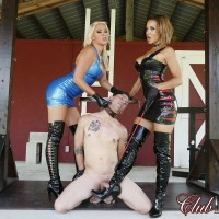 Fully-clothed Mistresses Cherry and Morgan give collared male submissive the COCK AND BALL TORTURE approach