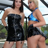Fully-clothed females Daisy Marina and Angel love some COCK BALL TORMENT with a masked masculine slave