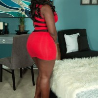 Bodacious ebony MILF Mia Milan having her immense booty liberated from short sundress and undies