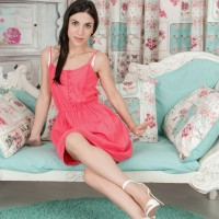 Dark-haired first-timer Luna flashing fur covered pits and slit in lingerie