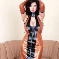 Brunette babe Sha Rizel vaunting no panty upskirt in spandex sundress and heels
