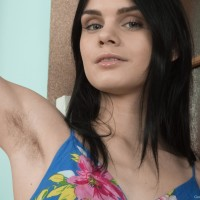 Brunette European amateur Gerda May showcasing furry underarms and furry cunny
