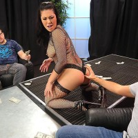 Black-haired MILF XXX star London Keyes taking bumhole sex in fishnets at stripclub