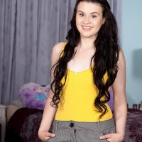 Brunette teenager girl Danielle reveals her small hooters for the very first time