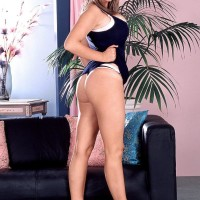 Dirty light-haired MILF Kelly Kay shows upskirt panties and her ass-cheeks