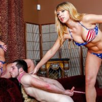 Bossy type Mickey Tyler & Goddess Kelly Paige use a sissy as they satiate