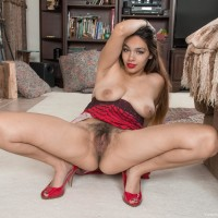 Ebony first-timer Victoria Marie revealing enormous all natural breasts before spreading furry fuckbox