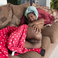 Black first timer with diminutive floppy hooters uncovering unshaven ebony snatch on couch