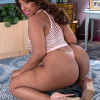 Black BIG SEXY WOMAN Layla Monroe flaunts her monster-sized buttocks in see-through dress and thong underwear