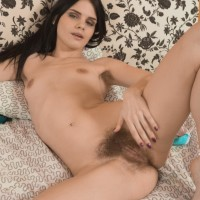 Euro amateur Gerda May uncovering hairy armpits and spread muff