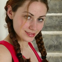Euro first timer in braided ponytails flashing smallish boobies and unshaven coochie
