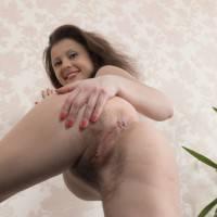 Euro dark-haired first timer Dea Ishtar showcasing lovely butt and unshaven gash