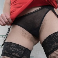 Euro brown-haired first timer Dea Ishtar spreading fur covered gash in stockings and high-heeled shoes