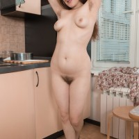 European black-haired first timer Elsa Hanemer flashing hairy armpits and coochie