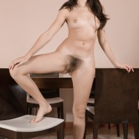 Euro dark-haired amateur with puny knockers baring unshaven cooter from panties