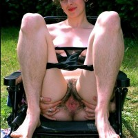 European black-haired amateurs exhibit furry armpits and snatches in the backyard
