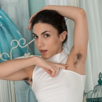 Euro brunette Luna displaying unshaven pits and honeypot in ballerina attire
