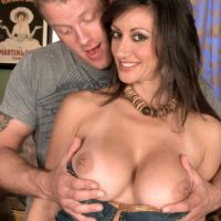 Euro MILF XXX vid star Persia Monir having giant knocker let out during foreplay