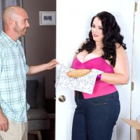 Fat brunette wife Charlotte Angel luvs some food before her fuck sessions