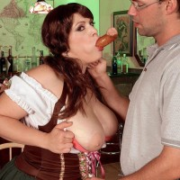 Fat female Brandy Ryder unveiling tits before sucking and riding penis