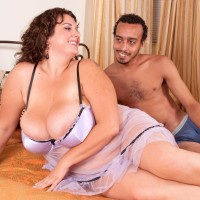 Fat girl Charlie Cooper pleasures her guy with her huge juggs in see-thru lingerie