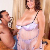 Fat girl Charlie Cooper pleasures her guy with her huge juggs in see-thru lingerie