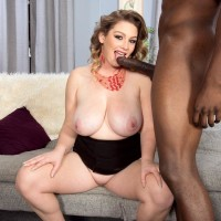 Plus sized chick Harmony White tempts a ebony guy with her huge breasts and gigantic backside
