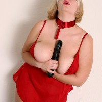 Plus-size senior blonde with huge all-natural fun bags masturbating honeypot with hefty boink stick