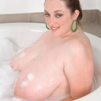 Overweight solo chick Alice Webb letting big moist melons cord up free in the bath