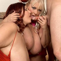 Overweight nymphs Shugar and Peaches LaRue delivering lengthy pecker blow job while slurping food