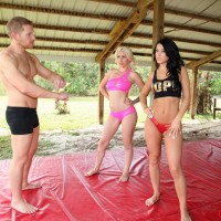 Fit gfs Stevie and Shae face-sitting latex shorts garmented dude in bare feet