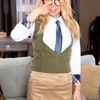 Glasses garmented schoolgirl Alina West unveiling diminutive teenager melons before hard-core sex