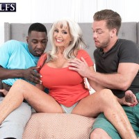 Cool 60 plus MILF Sally D'Angelo fellates on a BIG BLACK COCK and a immense white cock at the same time