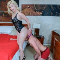 Uber-sexy blondes Inga and Victoria have collared dude snuffle lingerie outfitted butt