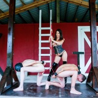 Enticing black-haired Dominant Dava FoXX abusing and humiliating 2 male submissives