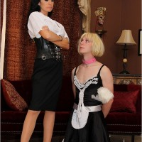 Stunning brown-haired Emmanuelle London puts her subby spouse in a maid attire