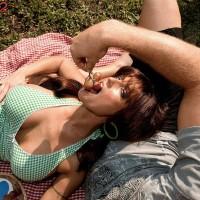 Killer MILF Sarah Sunshine has her giant natural tits massaged outdoors