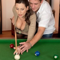 Spectacular MILF Voluptuous Jane jugg pounds a dude after shooting pool in black hose