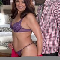 Tempting elder doll Renee Ebony removes her lingerie for a ebony man
