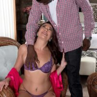 Tempting elder doll Renee ebony removes her lingerie for a ebony man