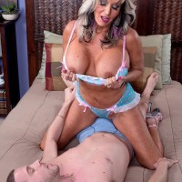 Stellar over 50 MILF Sally D'Angelo vaunting monster-sized fun bags while seducing dude for sex on bed