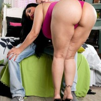 Latina girl Daylene Rio entices a dude with her fat butt and giant funbags